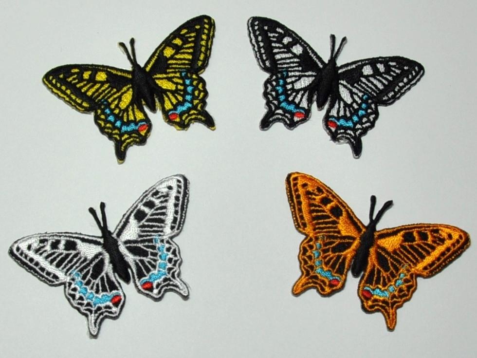 Aufnäher Motiv Schmetterling Schwalbenschwanz, Größe 6,5 x 4,2 cm ...